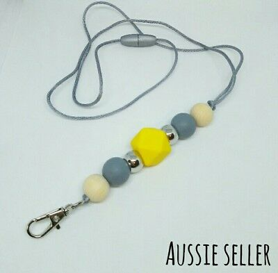 Silicone Beads Lanyard Keyring Chain Safety Clasp Holder ID Yellow Grey Teacher