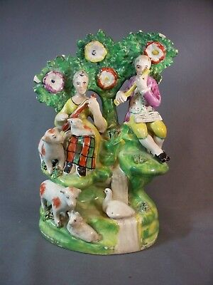 """Staffordshire Figure Group Lady And Gent Musicians 8 1/4"""" Tall"""