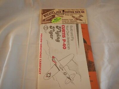 VTG 1984 Wheaties Jack Armstrong Card Kit Curtis P-40 Flying Tiger sealed pack