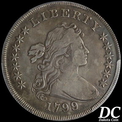 1799/8 Draped Bust Dollar 15 Stars Reverse ~ PCGS Graded F Details Repaired