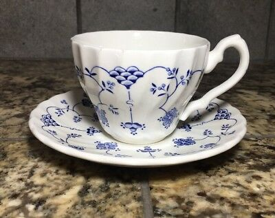 Myott Finlandia Cup & Saucer Set White with Blue Accents More Available