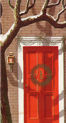 Vintage Art Guild Christmas Card Red Door With Gold Wreath 4 99