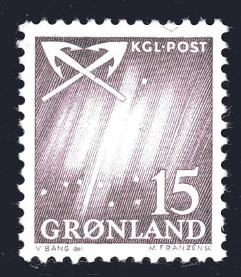 Greenland 1963 15 Ore Northern Lights Mint Unhinged