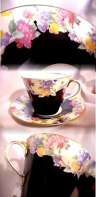 Vintage Aynsley England Black Cream Floral Hydrangea Tea Cup And Saucer Gold