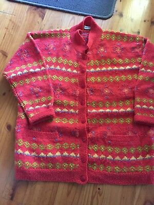 Large Rob Paynter Cardigan L 80's Knit Vintage Retro Wool