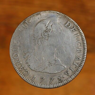 Raw 1773 Bolivia 4R Bolivian Silver 4 Reales Holed & Plugged Circulated Coin