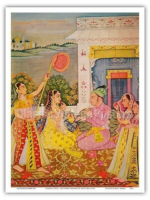 Chennai India - The Lovers Ceremony 1981 Vintage Indian Miniature Painting Print