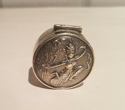 Sterling Silver Pill Box. SIGNED SIAM.