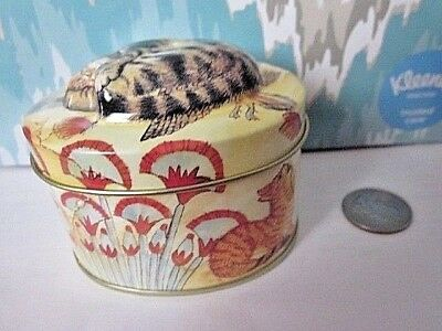 tin trinket box cat curled on top oval with flowers orange cat birds
