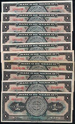 #1404: Lot Of 10 Bco De Mex Early 1-Letter Serie Notes - Getting Scarce!