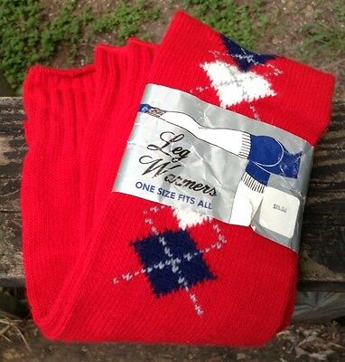 NEW Vtg 80s Leg Warmers Legwarmers Red Argyle Trim Dance OS NOS NWT