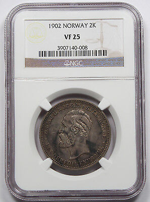 Norway 1902 2 Kroner Silver Coin NGC VF25 Very Fine Toned KM #359 Scarce!