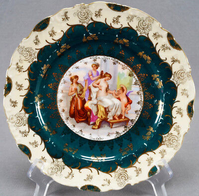 Royal Vienna Style Schmidt & Co Classical Ladies Green & Gilt Plate 1891 - 1918