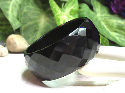 Vintage RARE Black Carved Faceted Bakelite Bangle Bracelet