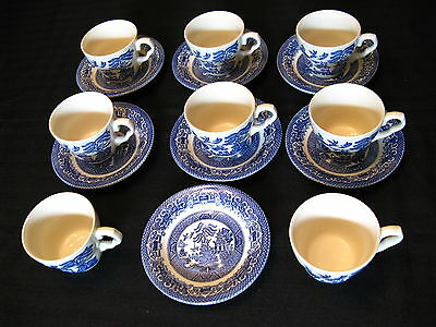 VINTAGE BLUE WILLOW ~ Made in England By EIT LTD ~ Set of 3 Cups ...