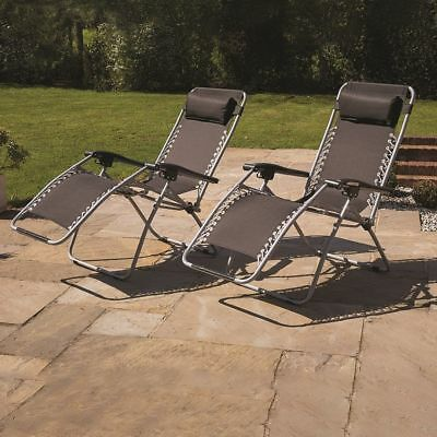 2 x RECLINING SUN LOUNGER OUTDOOR GARDEN PATIO GRAVITY CHAIR ADJUSTABLE HEAD ...