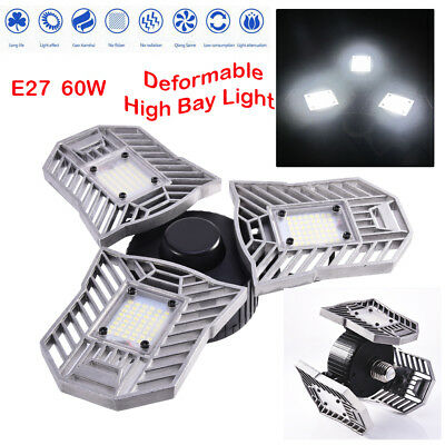 E27 Deformable High Bay UFO LED Light 60W Grade Industrial Warehouse Work Lamp