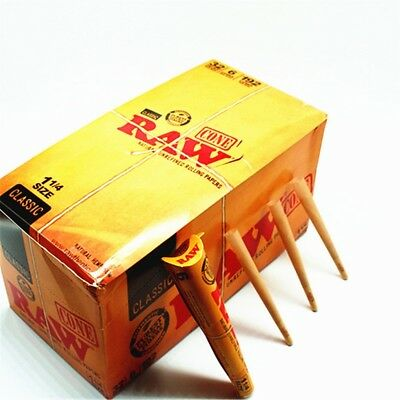 RAW Classic Natural Unrefined Rolling Papers 192 Pre-Rolled Cones 1 1/4 32 Packs
