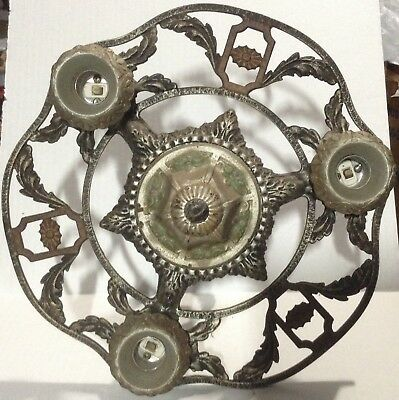 Cast Iron Antique Vintage Art Nouveau Hanging Light Fixture CHANDELIER 13""