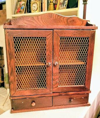 Vintage Wooden Spice Rack Cabinet: Wall Mount - Display Shelf, Two Drawers