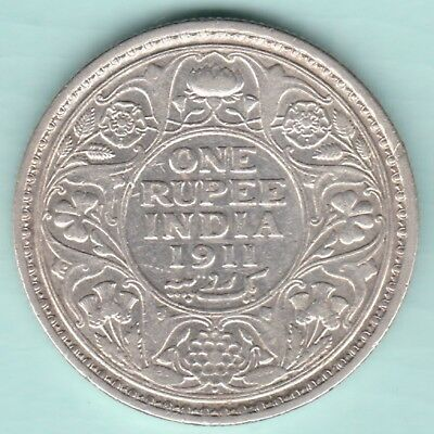 British India - 1911 - King George V Emperor - One Rupee - Rare Silver Coin