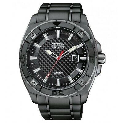 Citizen Eco-Drive Black S/Steel Mens Watch Solar Power 20ATM AW1095-54E RRP $550