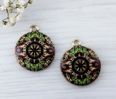 Patterned Glass Charms 2pc - Pink and Green - Mandala Charm CH118