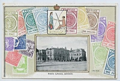 C1910 Embossed/novelty Postcard Sa Stamps/public Library Adelaide South Aust H36