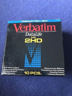 "Verbatim 87410 MF2HD 3.5"" Inch Microdisks DS HD Diskettes IBM Formatted 10 pack"