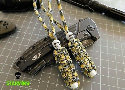 Paracord knife lanyard x2-Yellow Camo-fits zero tolerance,CRKT, spyderco & Kizer
