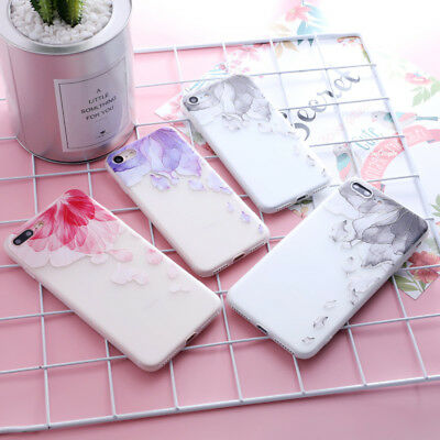 Shockproof Soft TPU Matte Floral Cute Pattern Cover Case For iPhone X 8 6 7 Plus