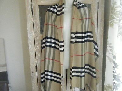 Large New Giant Huge Burberry Scarf Shawl 100% Cashmere Perfect