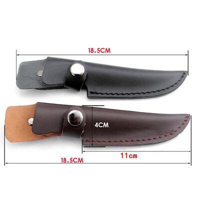 Leather Straight Sheath Scabbard  Protector Case Bag for Fixed Blade Knife