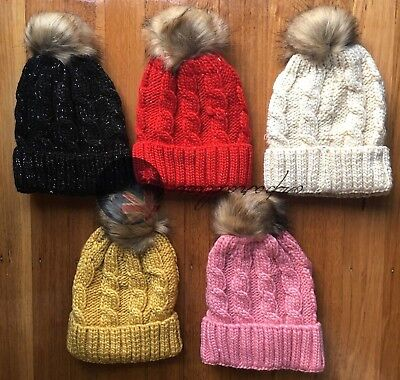 Lady Winter Warm Crochet Knitted Beanie Pompom Fleece Inner Lining Hat Cap