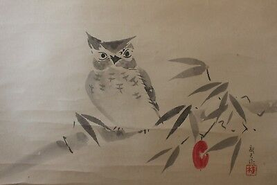 V07P5 ~Cute Owl FUKURŌ~ Japanese hanging scroll
