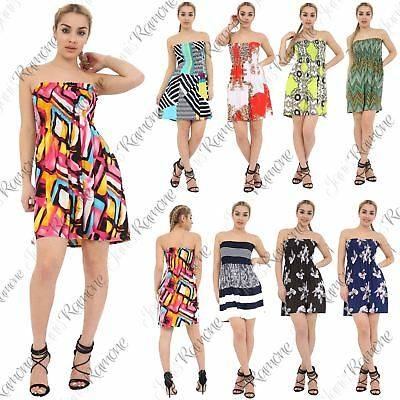 Womens Printed Bandeau Sheering Gather Strapless Boobtube Summer Mini Dress Top
