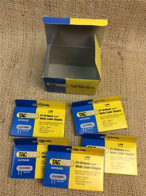 CLEARANCE LOT585 Tacwise CT-45 8mm white cable staples Boxed in 1000 outer 5000