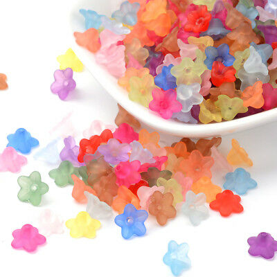 4200pcs/500g Transparent Acrylic Flower Beads Frosted Bead Caps Wholesale 10x5mm