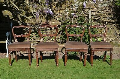 4 Edwardian Dining Chairs in Mahogany in fair condition