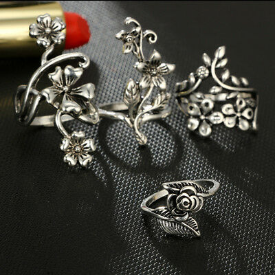 4Pcs Retro Women's Ancient Silver Forest Vine Leaves Flowers Rings Jewelry