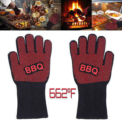 662°F Heat Proof Resistant Oven BBQ Gloves 33cm Kitchen Cooking Silicone Mitt