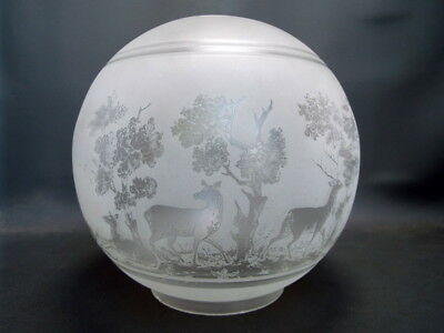 Antique acid etched glass oil lamp shade globe - Stags deer and trees