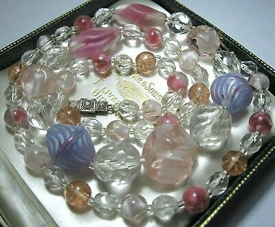 VINTAGE Antique ART DECO Lovely Venetian Glass Crystal BEAD SILVER Long NECKLACE