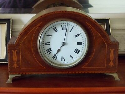 Vintage Antique Edwardian Mantel Clock, Brass Feet Swiss Movement - For Repair