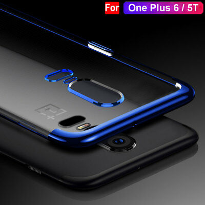 Luxury Clear Thin Plating Silicone Case for One Plus 5T/6 Shockproof Back Cover
