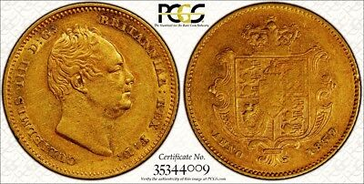 1837 William Iv Half Sovereign Extremely Rare Certified Low Mintage Example