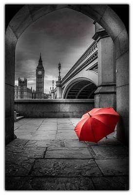 Black and White City Print Big Ben Umbrella Poster London Portrait Citycape