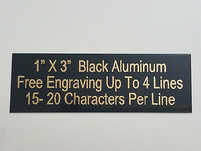 "1""x3"" ALUMINUM BLACK NAME PLATE GOLD COLOR LETTERS FOR TROPHIES, GIFTS,"