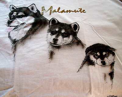 "Alaskan Malamute T-shirt  "" White "" Small ( 34 ~ 36 )"