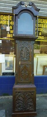 Antique Carved Oak Grandfather Clock Case Takes 17.25 by 12ins Dial